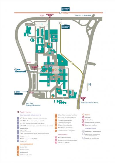 Plan du campus de Villetaneuse